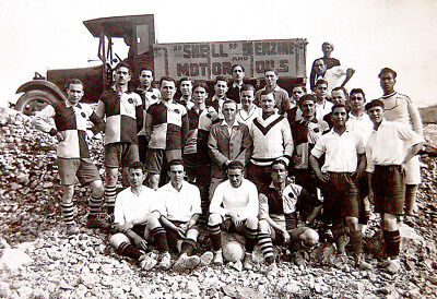 """1920 Palestine REAL PHOTO Football SOCCER TEAM Truck """"SHELL"""" Oil COMPANY Israel"""