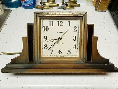 Antique Vintage Gilbert Electric Art Deco Mantle Clock Works