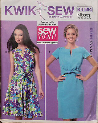 Kwik Sew Sewing Pattern 4154 Ladies Fitted Fit Flare Dresses Size XS-XL UNCUT