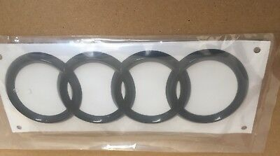 AUDI RINGS BLACK GLOSS REAR BOOT BADGE EMBLEM 192mm X 63mm FITS TT Q A R series