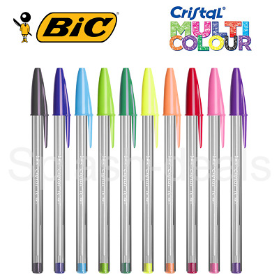 BIC Cristal Ball Colours Fun Multicolour Pens 1.6mm nib - Choose Any Colour