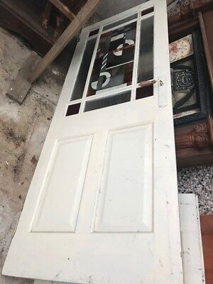 Set of Double Interior doors. Both with Art Deco like Stained Glass Panel