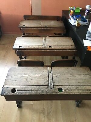 Antique - Vintage Double school desk /school Table with integrated bench /chair