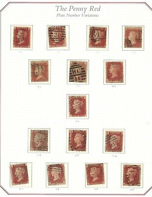 Lot:27962  GB QV   SG44 1d red penny plate selection