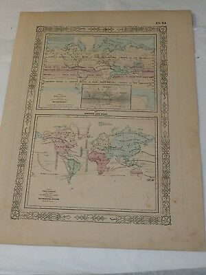 """1862 Map of the World showing Meteorology Rain and Principal Plants 14 x 18"""""""