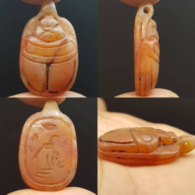 A Very Old Rare Carved Scarab Seal intaglio Stone Agate Amulet   # 4H