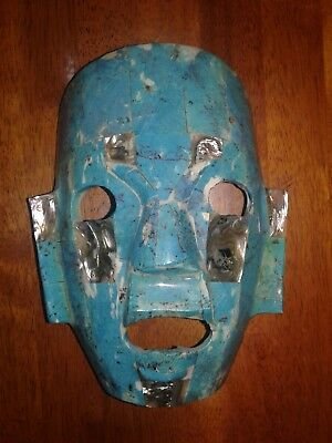 Antique Mexican Mayan Aztec Mosaic Stone Mask Abalone Turquoise Burial Mask