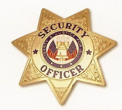 HWC Seven (7) Point Star SECURITY OFFICER Badge GOLD with FULL COLOR Seal