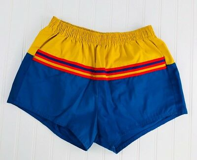 Vtg Men's Pacific Surf Running Blue Yellow Elastic Waist Shorts Large Swim
