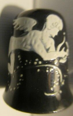 Glass thimble Hermes with Lyre hand painted miniature painting