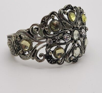Antique Silver Tone Cuff Bracelet Gem and Crystal Accent -Signed SOL 099