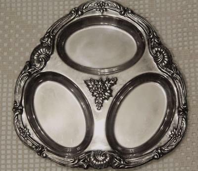 WALLACE DIVIDED SILVERPLATE PLATTER -  FLORAL PATTERN BEAUTIFUL with  LABLE