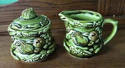 Vintage Green Glaze Cream And Sugar Made In Japan