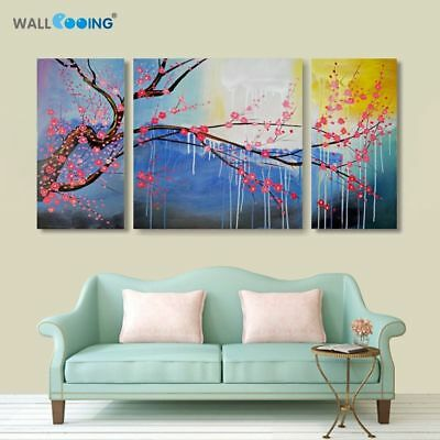 Hand painted Modern Abstract Sunrise Cherry Tree Flowers Canvas Oil Painting