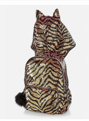 Justice Girls Exclusive Tiger Flip Sequin HOODED Backpack & Lunch Bag NWT!!!