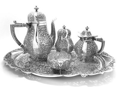 Spectacular Solid Silver Indian Bhuj Kutch 5-Piece Tea Set 3.4 kg