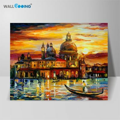 Hand Painted Venice Large Castle Landscape Abstract Canvas Oil Painting Wall Art