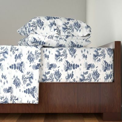 China Japan Blue White Japanese Garden Cotton Sateen Sheet Set by Roostery