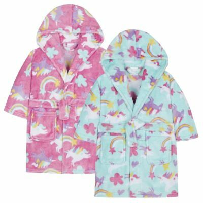 Girls Unicorn Dressing Gown Baby Kids Belted Rainbow Hooded Robe Age 2-6 New
