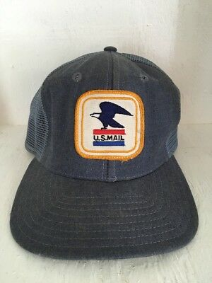 Vintage USPS US Mail Mesh Denim Snapback Uniform Hat  Small USA! Blue W Patch!