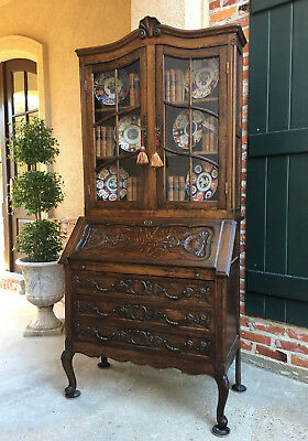 Antique French Carved Tiger Oak Desk Secretary Bureau Bookcase Louis XV