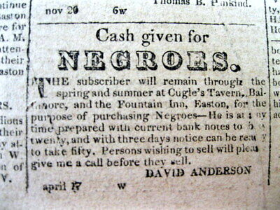 1821 EASTON Maryland newspaper w 14 SLAVE ADS including CASH PAID FOR NEGROES ad