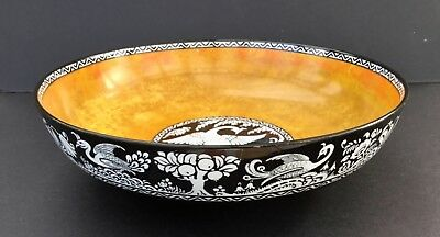 """Losol Ware """"Tapestry """" Lustre Bowl with Exotic Bird 1912 -1936"""