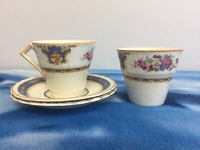 MYOTT Pair Of Cup & Saucer Sets 1930's Staffordshire England Blue Pink Floral