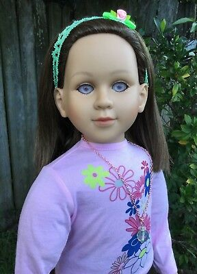 "My Twinn Poseable 23"" Doll Brown Hair Purple Eyes 1997/2011 With Outfit"