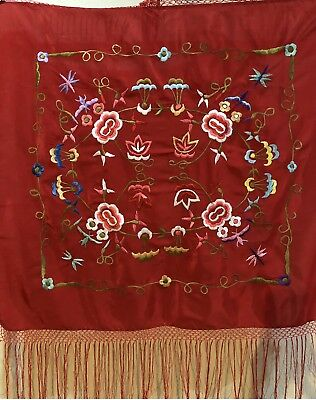 Antique Chinese Hand Embroidered Piano Shawl 74 X 80 Fringe 26 Cm For Child