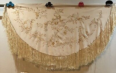 Antique Chinese Hand Embroidered Piano Shawl 57 X 117 Fringe 20 Cm Try Angle