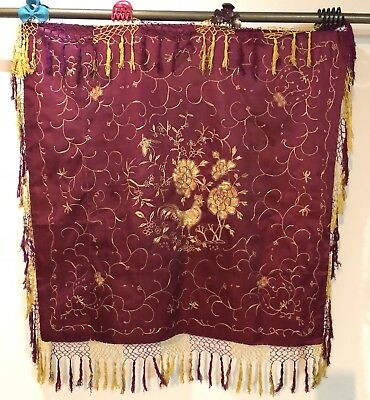 Antique Chinese Hand Embroidery Silk Piano Shawl Gold Coaching 88 X 89 Cm Fri 15