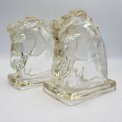 "Vintage L.E. Smith Horse Head Bookends - Clear Glass ~ 5.5"" Tall"