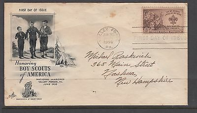 UNITED STATES 1950  3c  *Boy Scouts FDC TO new hampshire (tone)