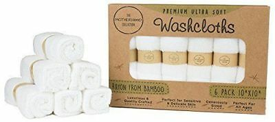 6 Pack Ultra Soft Baby Bath Washcloths Rayon From Bamboo Towels White