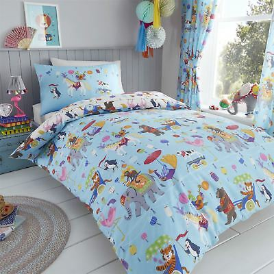 HLC Boys Girls Circus Animals Lion King Blue White Duvet Cover Bedding Curtains