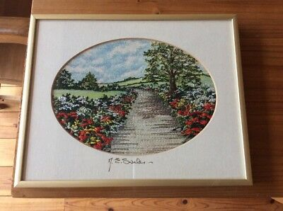 Margaret Swales Embroidery Poppies In The Lane Nielsen Frame