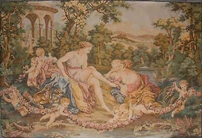 "Large Antique/ Vintage French Wall Hanging Tapestry 67"" x 48"" JP Paris"