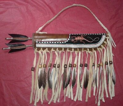 Navajo Hand Made Painted American Indian Quiver & Arrows - Iguana