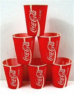 6 Enjoy Coca Cola Classic Sample 4 oz Waxed Soda Cups Old Unused Store Stock