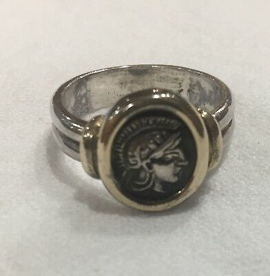 Ancient Roman Coin Ring Set In 14k With Sterling Silver Band