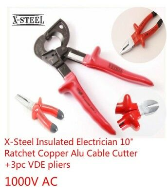 """X-Steel Insulated Electrician 10"""" Ratchet Copper Alu Cable Cutter+3pc VDE pliers"""