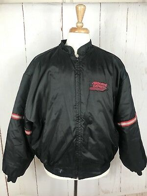 Airborne Express Truck Drivers Zipper Jacket  Black  Nylon Quilted XL