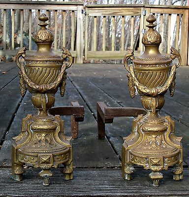 Antique 19th C. Bronze Brass French Louise XVI Urns Garland Fireplace Andirons
