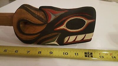 Carved Native American whale Rattle L E Larry Rudick signed northwest coast