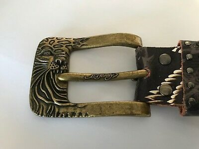 Ed Hardy Vintage Belt, Brass Buckle Feat. Leopard, Ex Cond,  to fit 36-41""