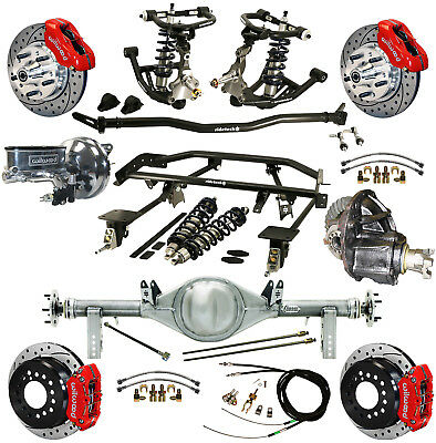 """Ridetech Coilover,4-Link Kit,currie Rear End,wilwood Disc Brakes,11"""" Drilled,red"""