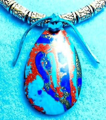 #59 Multi-Color Teardrop Turq, Blue, Rust Pendent+ Leather Necklace+ Native Made
