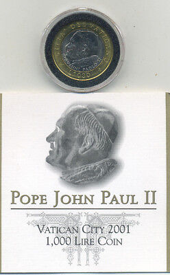 2001 Vatican City Special Pope John Paul II 1,000 Lire Coin with COA