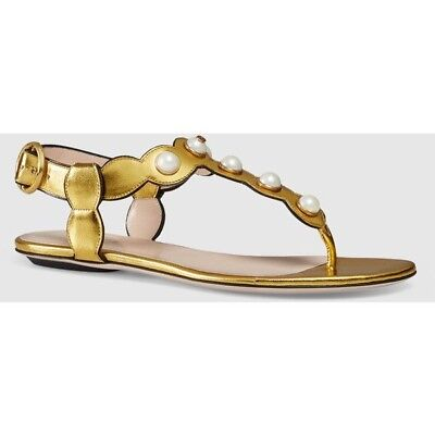 2258a3c978ae GUCCI SASSO GOLD Metallic Leather Rhinestone Embellished Flat Ankle ...